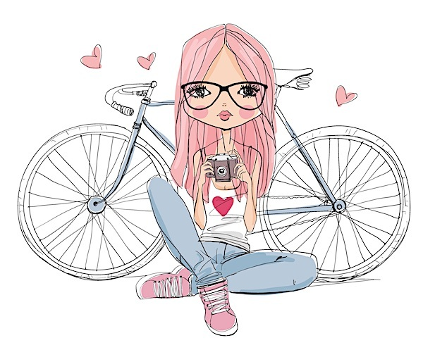 Girl-With-Bicycle-and-Camera-Sketch