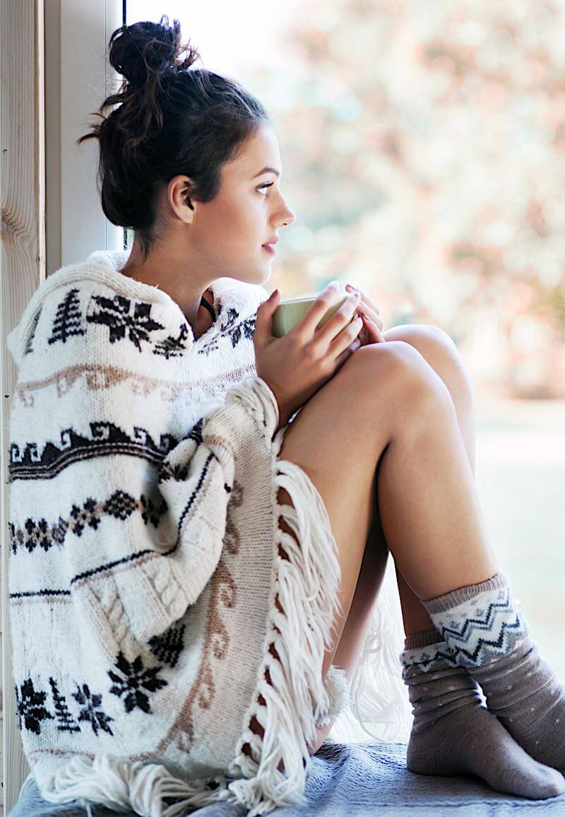 Girl With Fibromyalgia Pain Drinking Coffee
